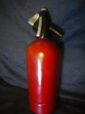 "VINTAGE CLASSIC BOC SPARKLETS SODA SYPHON IN FLAT METALLIC RED SC1 11.5"" HIGH"